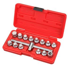 Набор головок 3/8″ с Т-образным воротком для откручивания масляных пробок (15 предметов) | TVK-06037