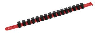Пластиковый держатель торцевых головок 1/4 на 16 шт, длина 432 мм, TVK-10002