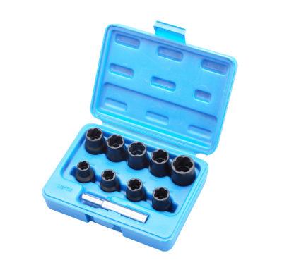 Экстракторы, набор головок для поврежденных болтов и гаек 10-19 мм, 1/2''DR (10 шт) | TVK-07002