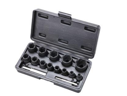 Набор головок- экстракторов для поврежденных болтов и гаек 6-27 (15 шт) (1/2 DR. и 1/4 DR.) | TVK-07019