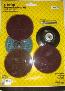 Набор для точечного ремонта: 1 диск-подошва  с креплением + 4 диска быстросъема 2″(50мм) из нетканого абразивного материала Rolok. ORIENTCRAFT
