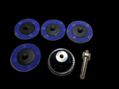 Набор для точечного ремонта: 1 диск-подошва  с креплением + 4 абразивных диска быстросъема 2″ (50 мм). ORIENTCRAFT