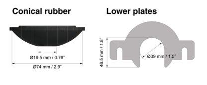 Универсальная крышка для замены тормозной жидкости с рамкой для горловин диаметром до 39 мм | TVK-03027